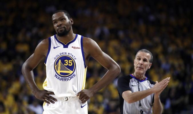 Durant mantiene la lesión que sufrió contra Rockets   Foto: AP