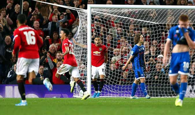 Greenwood celebra tras anotar el primer gol de su equipo / Foto: AP