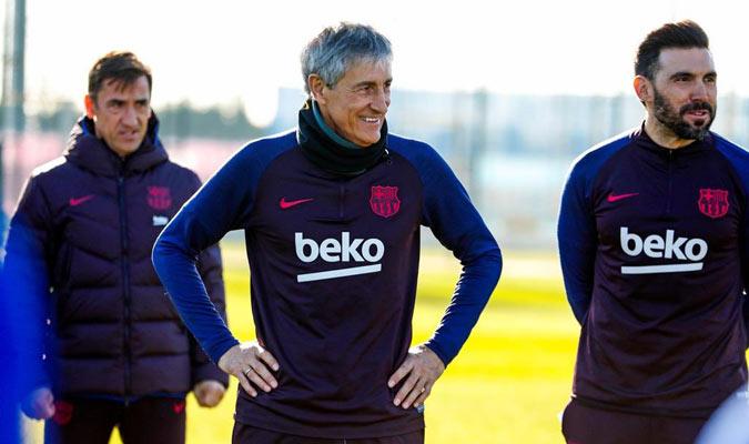 El cántabro dirigió su primera sesión/ Foto @FCBarcelona